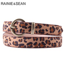 RAINIE SEAN Women Leopard Belt Genuine Pigskin Leather Pin Buckle Candy Color High Quality Real Female Trouser