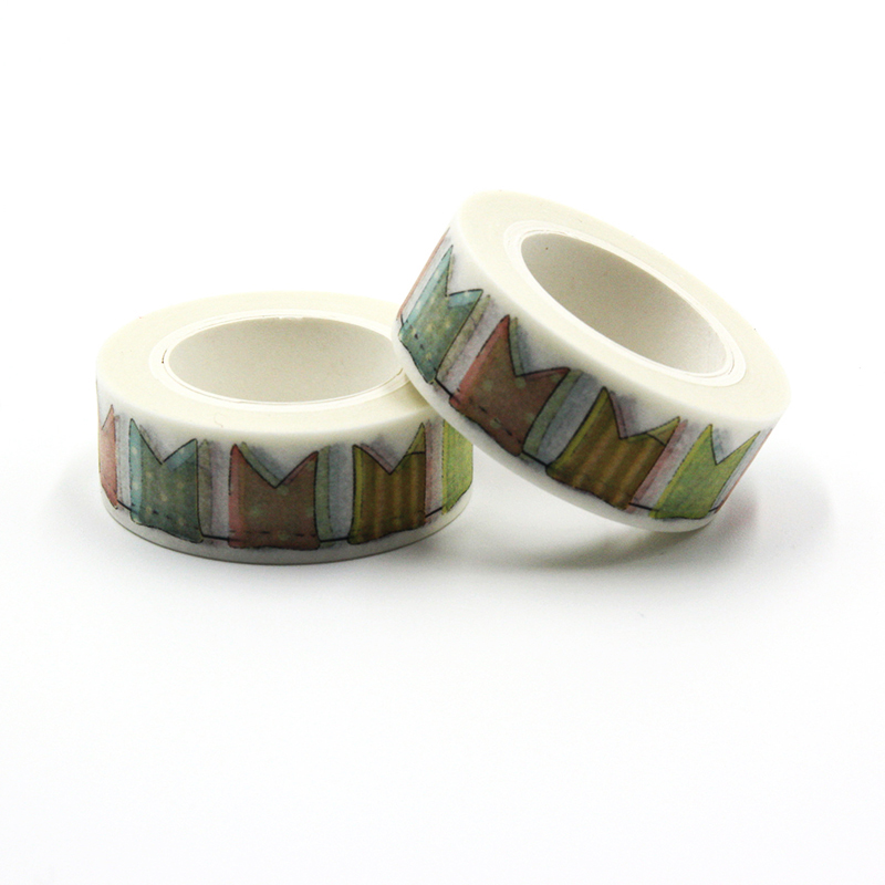 1 PCS New Creative 15mm*10m Japanese Washi Decorative Adhesive Tape Flags Pattern Masking Paper Tape Diary Sticker Gift