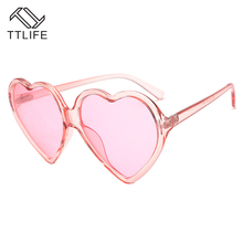 TTLIFE 90S Vintage Red Glasses Fashion Large Women Lady Girls Oversized Heart Shaped Retro Sunglasses Yellow Cute Love Eyewear