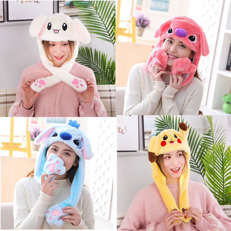2019 Winter Party Moving Hat Rabbit Ears Plush Sweet Cute Airbag Caps Moving Jumping Hats Kids Cartoon Bunny Funny Pinch Cap