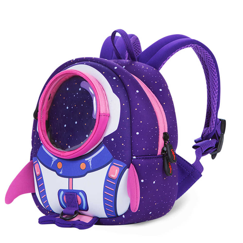 Backpacks+anti-loss rope, rocket lost bag School Bags Girls Cartoon  Children Boys Kindergarten blue,purple Adjustable softer