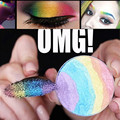 2016 Hot Rainbow Highlighter Palette Shimmer Baked Eye Shadow Kit Contorno Face Powder Blush Bronzer Maquiagem Natural Nu