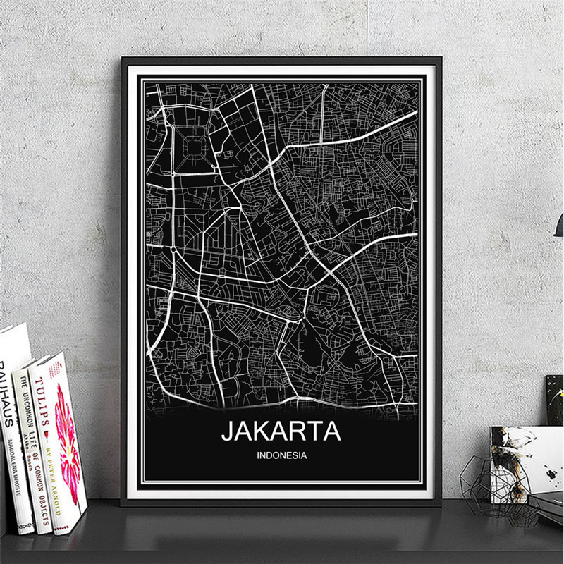 City Poster JAKARTA Abstract World Map Print Picture Modern Canvas Coated Paper Oil Painting Living Room