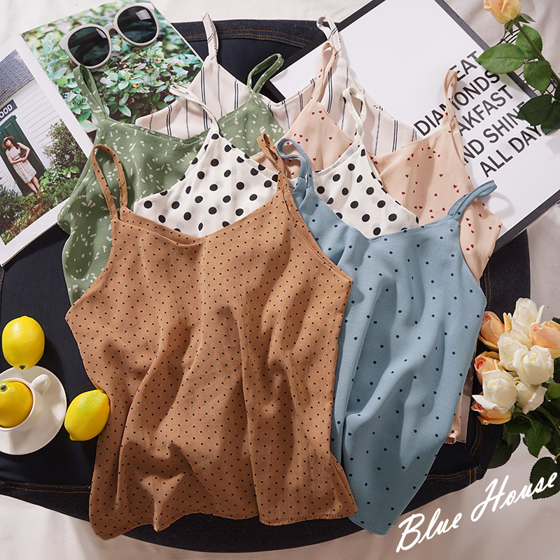 Polka Dot Beach Sexy Camis Women Summer Wear Fashion V-neck Casual White Green   Tank     Tops   Female Vintage Chiffon Pullover