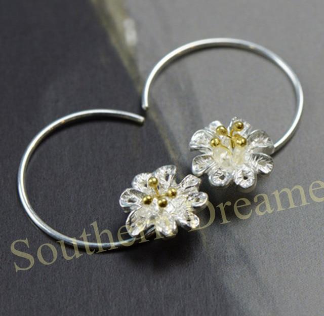 Classic pendientes aros plata boucle d'oreille argent 925 Stereoscopic Flower Small pendientes aros de plata mujer ouro18k
