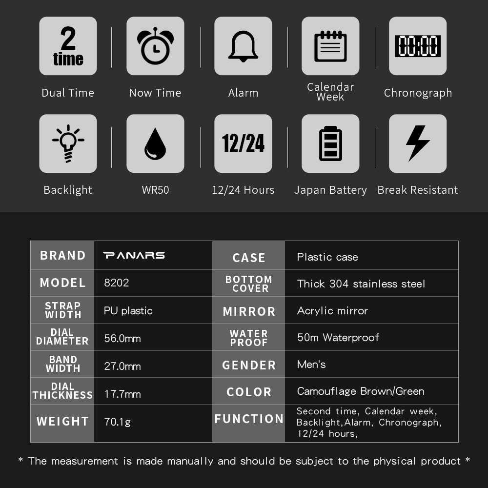 Panars Homens Esporte Digital Assistir À Prova D' Água LED Eletrônico Analógico de Quartzo Natação relógio Do Esporte Para Homens de fitness 2019 Reloj Hombre