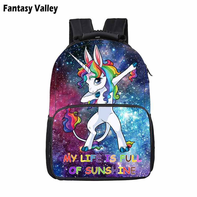 b8f57767260e Симпатичные Galaxy Dab Единорог Рюкзак для подростков мальчиков и девочек  детей школьного сумки дети мультфильм Рюкзак