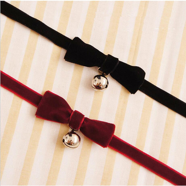 Trendy Punk Style Bow Choker Necklace For Women Silver Bell Pendant Collar  Cosplay Necklace Black Velvet fce907ad8