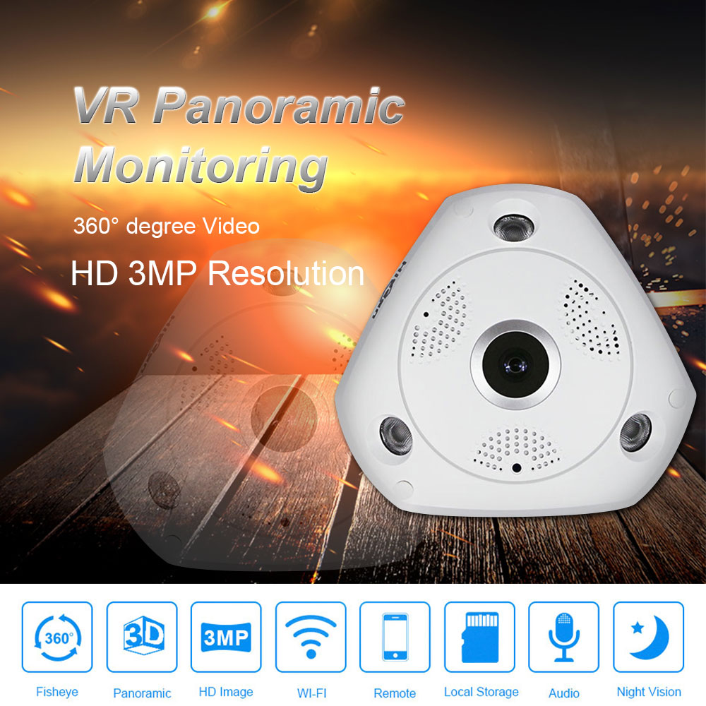 3.0MP HD Wifi Fisheye Camera 1080P HD 360 Degree Panoramic Camera 3D VR Camera Mini Wifi DVR Wireless IP Recorder Baby Monitor3.0MP HD Wifi Fisheye Camera 1080P HD 360 Degree Panoramic Camera 3D VR Camera Mini Wifi DVR Wireless IP Recorder Baby Monitor