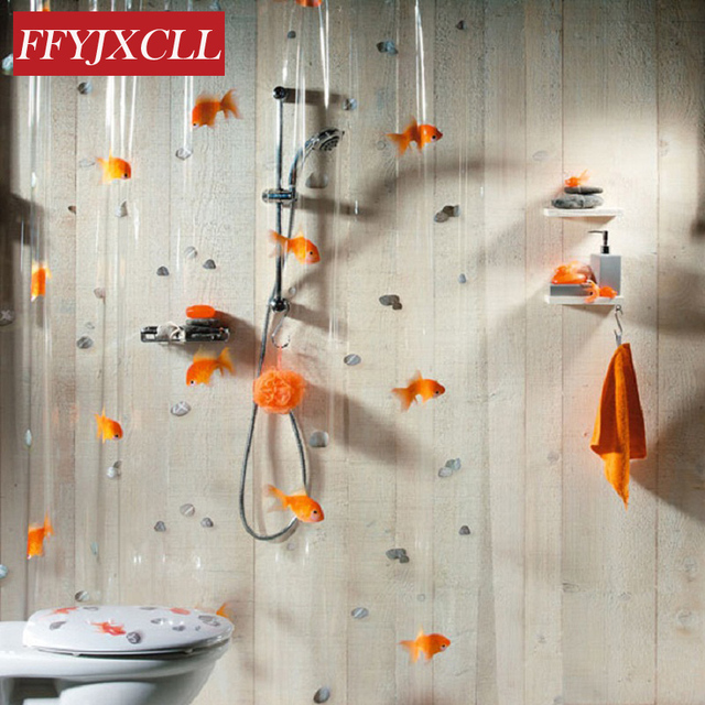 180200cm PVC Transparent Goldfish Play Stone Bathroom Shower Curtain Mildew Proof Thick Waterproof Fabric