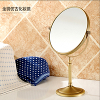 Wholesale And Retail Bathroom Deck Mounted Antique Brass Beauty Makeup Mirror Dual Sides Round Mirror Magnifying