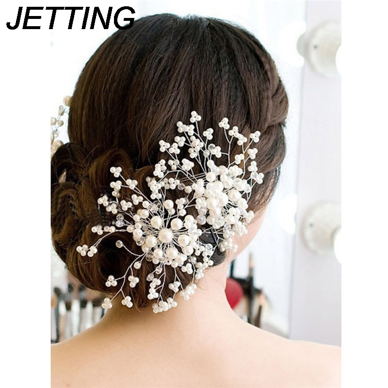 Women Ladies Floral Wedding Pearl Crystal Bridesmaid Bridal Party Hair Comb Hairpin Jewelry Hair Accessories