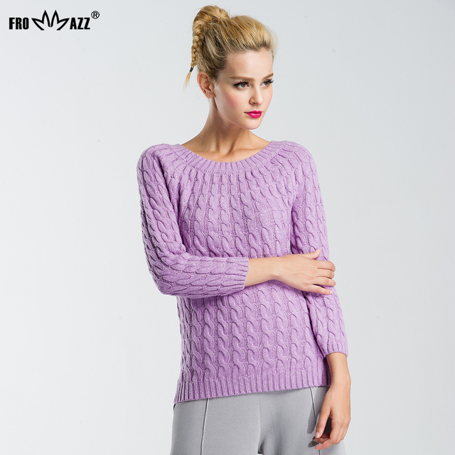 FROMMAZZ 2016 Women Sweater Candy Color O Neck Twisted Spring Autumn Long Sleeve Pullover Knitted Warm Sweater FS16059