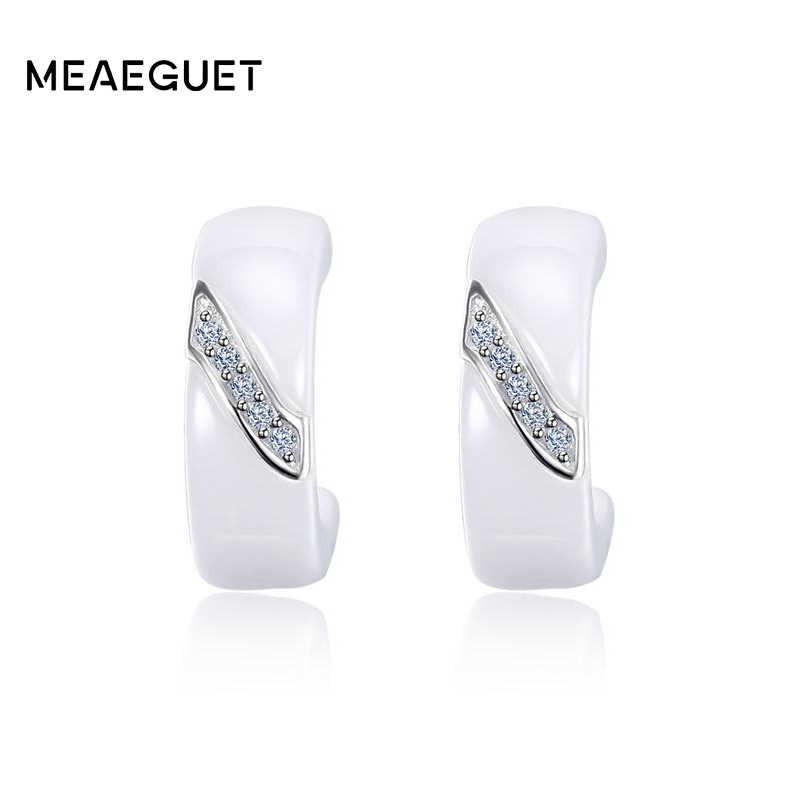 Meaeguet 925 Sterling Silver Cubic Zirconia Earrings For Women Elegant White Ceramic Stud Earrings Jewelry