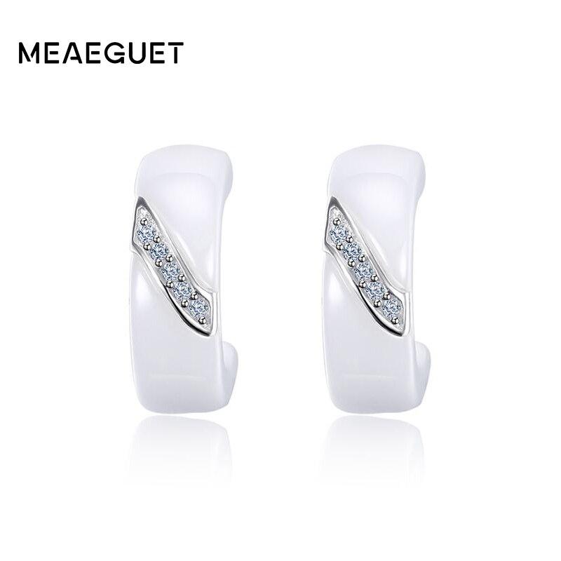 Meaeguet 925 Sterling Silver Cubic Zirconia Orecchini Per Le Donne Elegante Bianco di Ceramica Orecchini con perno Gioielli