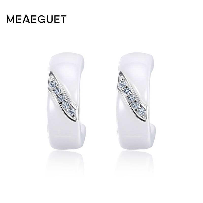 925 Sterling Silver Warna Cubic Zirconia Anting-Anting untuk Wanita Elegan Putih Keramik Stud Anting-Anting Perhiasan