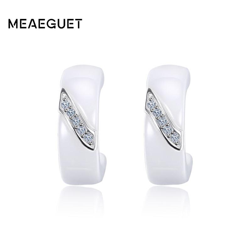 Meaeguet 925 Sterling Silver Cubic Zirconia Earrings For Women Elegant White Ceramic Stud Earrings Jewelry king double krn a5t 5 zirconia ceramic utility knife w sheath red white