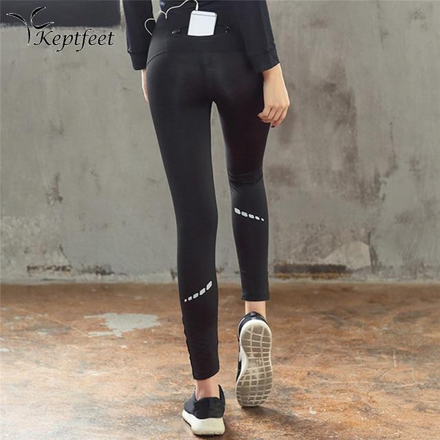Femmes Noir De Yoga Pantalon Haute Qualité Slim Fitness Leggings Bonne  Élastique Profession Bande Réfléchissante Nuit 1ceba0a5686