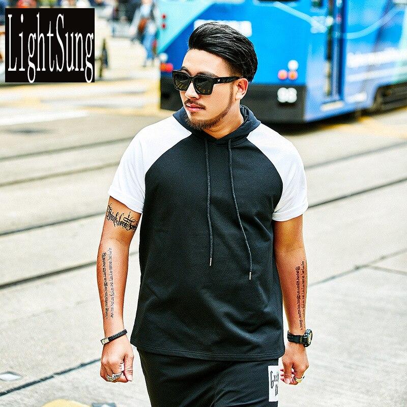 Fashion summer short sleeve hoodies casual male plus size plus size patchwork t shirt leisure men loose tshirt