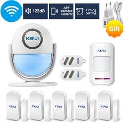 KERUI WIFI Inicio de seguridad sistema de alarma funciona con Alexa inteligente App 120dB PIR Panel principal puerta/puerta de ventana Sensor inalámbrico alarma antirrobo