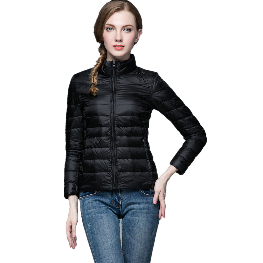 winter Thin and light Womens Long sleeve Down Coats, 12 color options, Fashion Slim Women Down jackets Size S-3XL