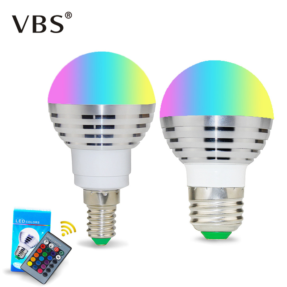 1PCS Color Changing Spotlight LED RGB Bulb With Memory E14 E27 LED Lamp Remote Light  24 Key Controller For Home Decoration