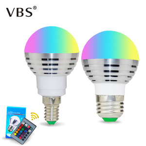 1PCS Color Changing Spotlight LED RGB Bulb with Memory E14 E27 LED Lamp Remote Light 24 Key Controller For Home Decoration(China)