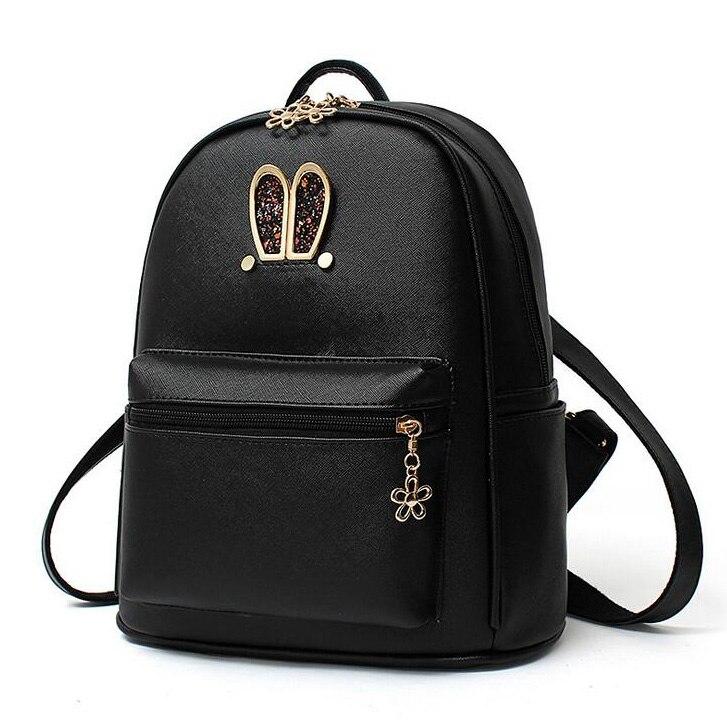 Fashion Lady Backpacks Women Hand Bags Diamonds Rabbit Ears Brand Shoulder Bag Girls Students Teenager School