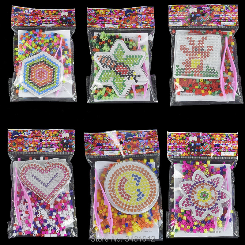 300pcs/bag Hama Beads 5mm DIY Pegboard Plastic Clip Tweezer Perler Beads Board Colored Picture Puzzles Kids Toys For Children
