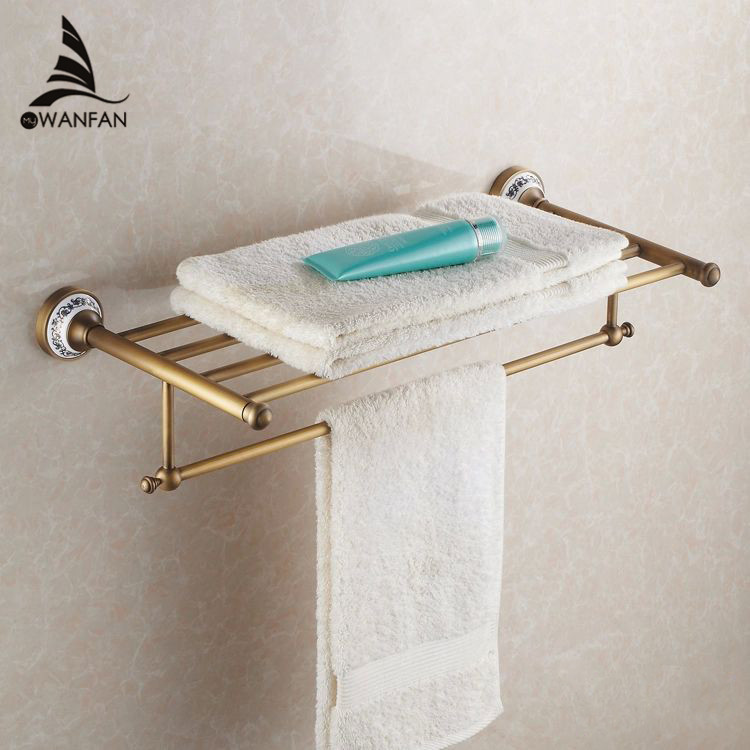Bathroom Shelves Antique Brass With Ceramic Towel Rod Towel Rack Hangers Bar Bathroom Accessories Luxury Bath Wall Shelf HJ-1812 whole brass blackend antique ceramic bath towel rack bathroom towel shelf bathroom towel holder antique black double towel shelf