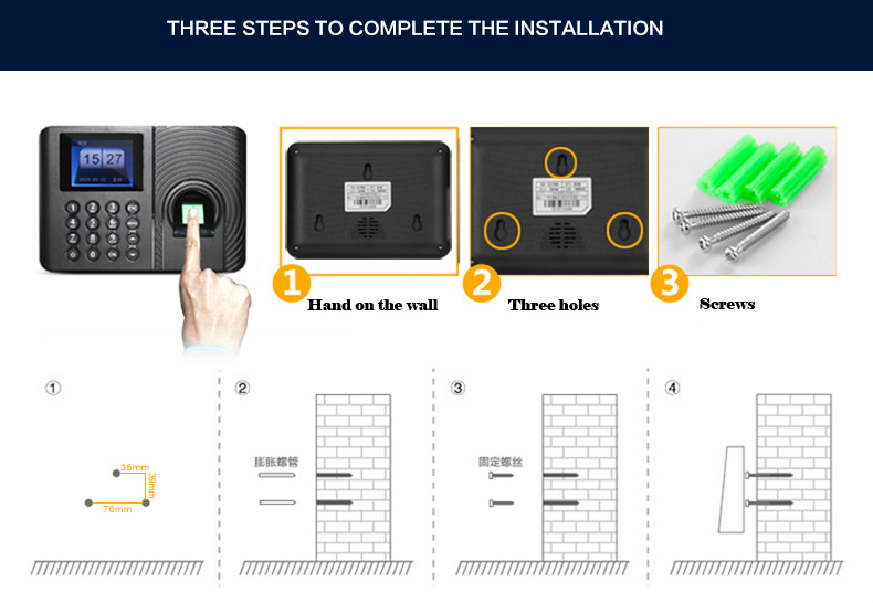 A10 Biometric Fingerprint Time Attendance System Clock Recorder Employee Recognition Recording Device Electronic Machine