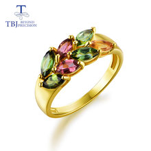 Женское кольцо с турмалином tbj ювелирное изделие из стерлингового