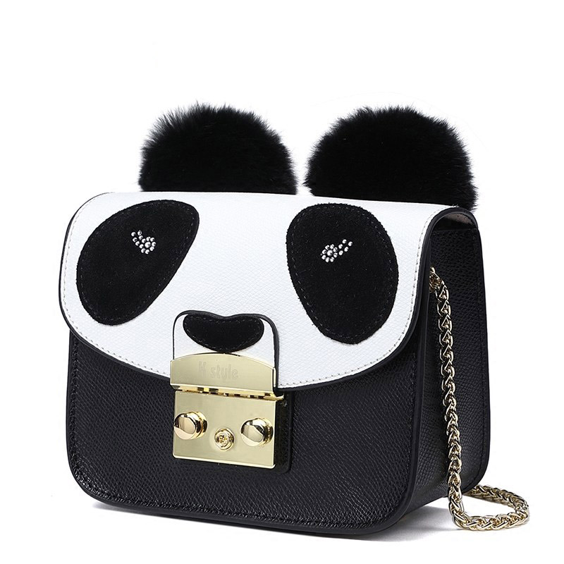 Cute Panda Small Bag Lock Closure Mini Genuine Leather Chain Bag Casual Small and Exquisite Crossbody bags for women bag cute colour block and magnetic closure design crossbody bag for women