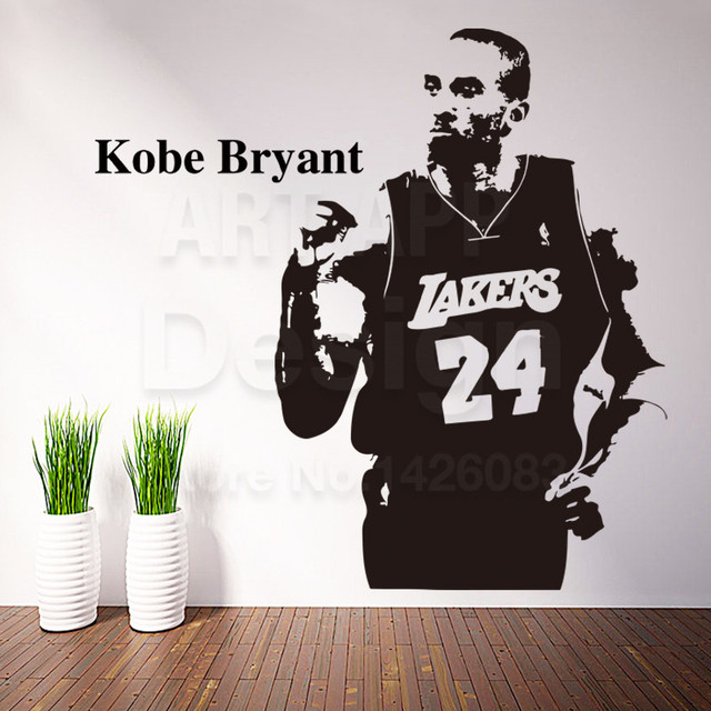 Art New Design Cheap House Decor Vinyl Kobe Bryant Wall Decals Removable  Home Decoration Basketball Sports