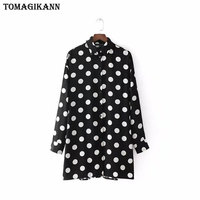 2018 Casual Contrast Dots Print Women Shirt Dress Spring Back Ruffles Single Breasted Long Sleeve Loose