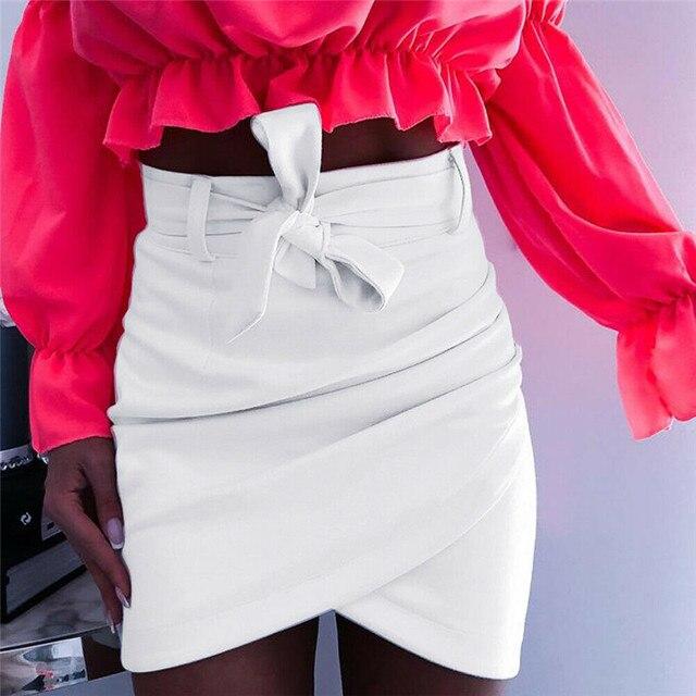 Asymmetric belt suede skirts women Bodycon leather Spring skirts 2019 New Sexy streetwear High waist Bandage short skirts femme 4