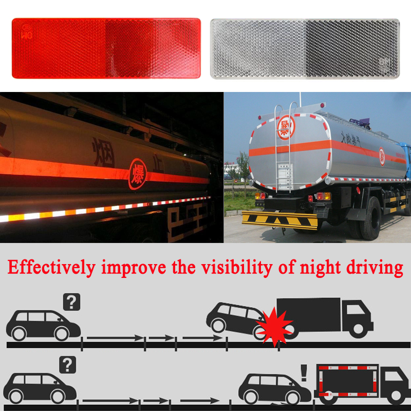 50pieces/lot Adhesive Plastic Reflector Reflective Warning Plate Stickers Sign For Car SUV Truck Safety