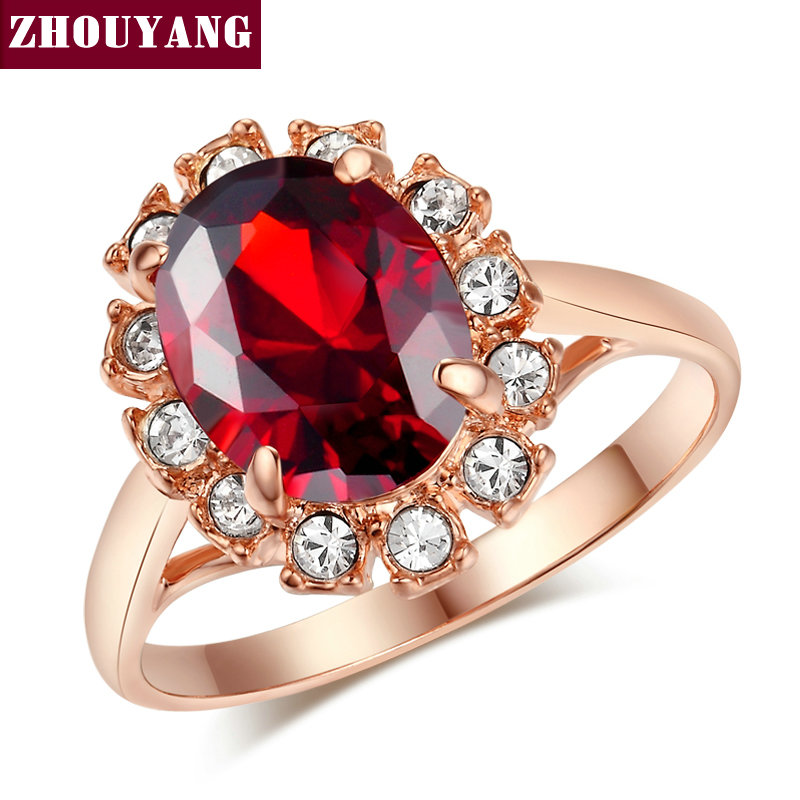 Top Quality ZYR190 Red Crystal Ring Rose Gold Color Austrian Crystals Full Sizes Wholesale