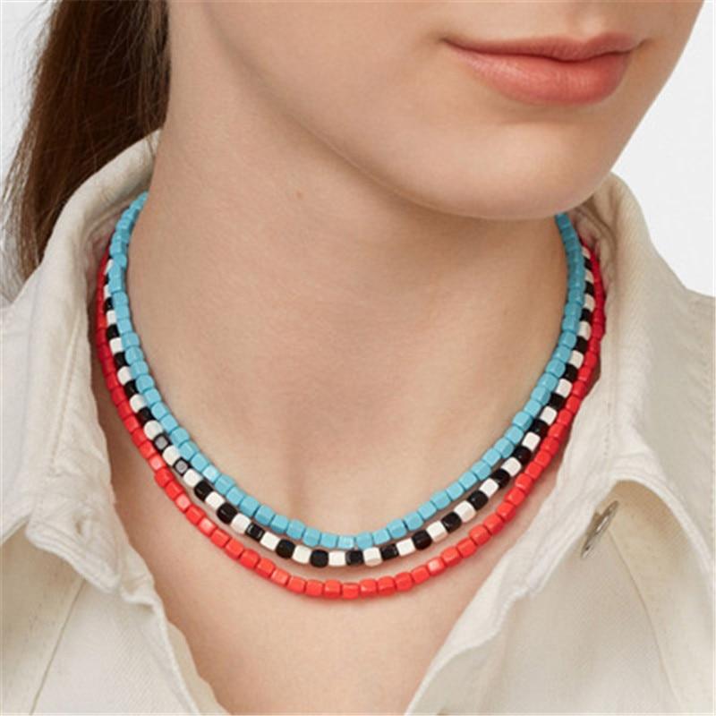 Three Layers Full Stones Beads Neckalces Collares De Moda Neck Jewelry Best Girlfriend NT209