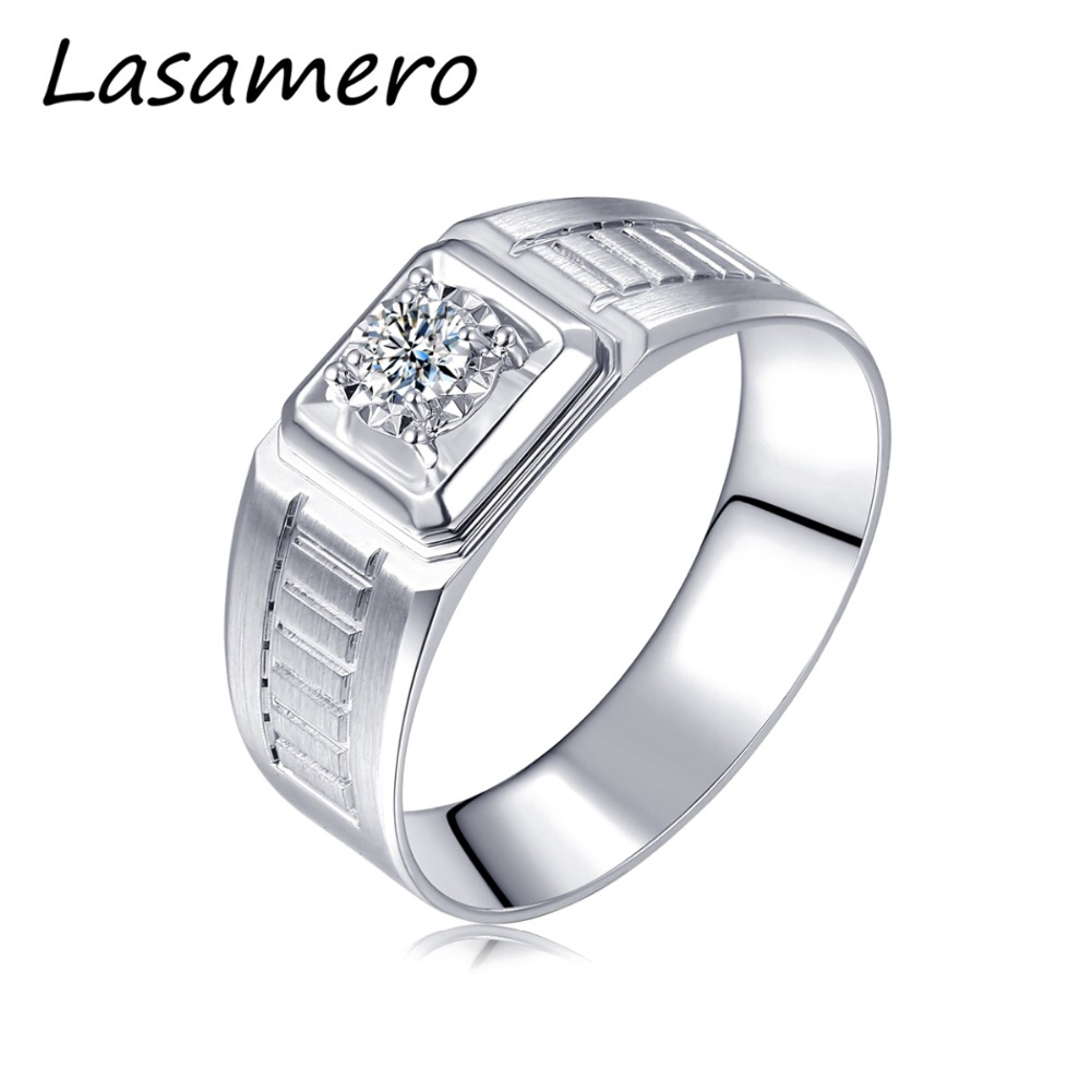 LASAMERO Rings for Men 0.056CT Round Cut Natural Diamond Ring 18k White Gold Engagement Wedding Ring yoursfs 18k white gold plated austria crystal soliraire anniverary rings with princess cut