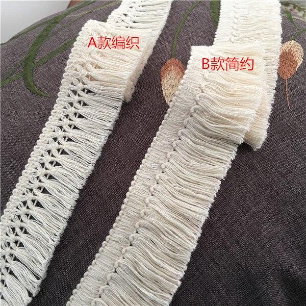 6 jardas 4cm-4.5cm de largura bela franja de algodão laço bege borla guarnição do laço borla cortina de costura de renda material ofício z1223