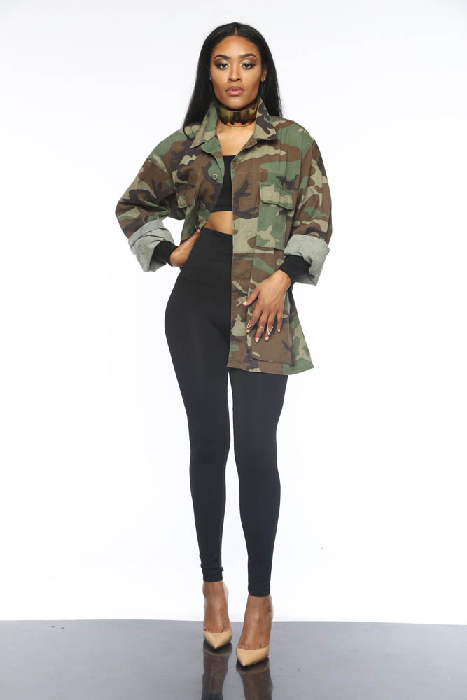 Image 2 - Women Military Camouflage Jacket Hot Green Fatigues Long Coat  Loose Casual Daily Army Battle Jungle Garment ME Q045Jackets   -