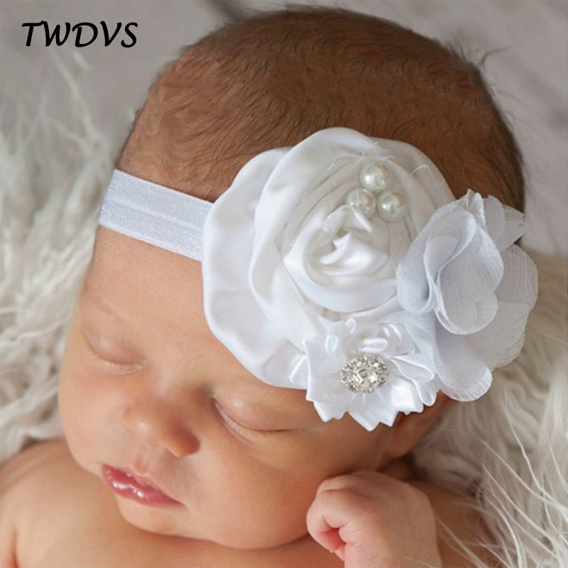 TWDVS Babe Hair Bands Girls Flower Hair Accessories Pearl Diamond Kids Hair Elastic Band Newborn Fashion Flower Headband W047 jrfsd 1pcs hot sell girls headband with 3 or 6 flower pearl diamond hair bands headbands for girl elastic kids hair accessories