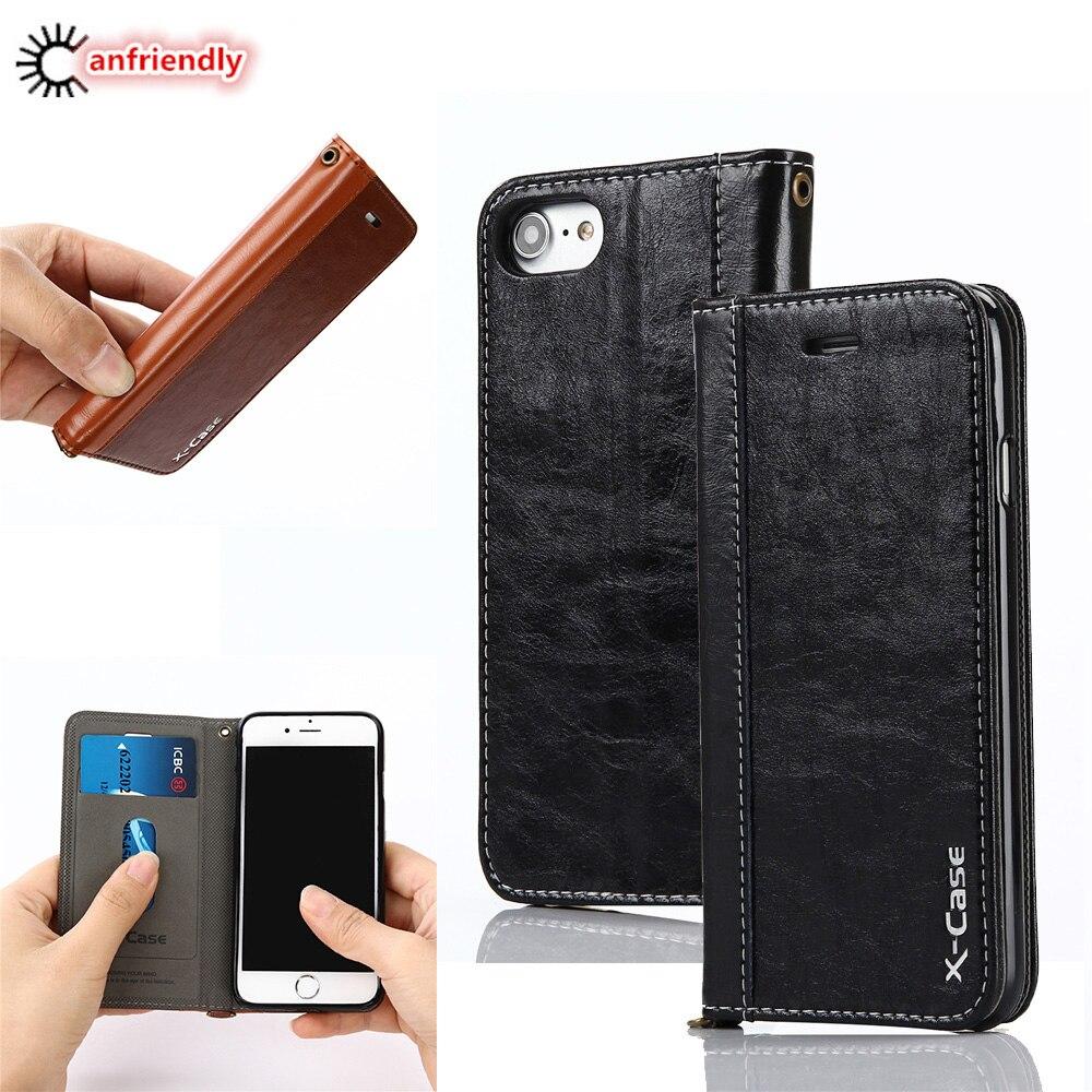 Para Funda iPhone 8 7 6 Plus 5 Funda de cuero con tapa de cuero - Accesorios y repuestos para celulares - foto 1