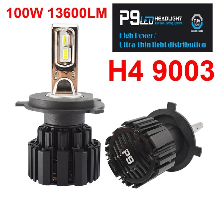 1 Set H4 H7 H8 H9 H11 9005 9006 100W 13600LM P9 LED Headlight 2.5MM Ultra Thin No Blind FLIP Chips White 6000K Car Lamps Bulbs