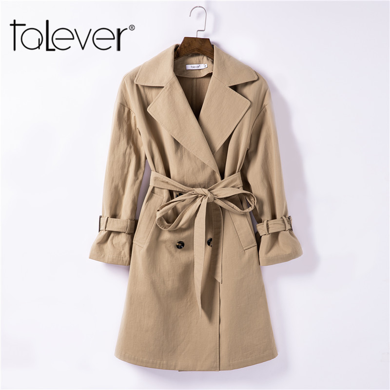 Womens Windbreaker Spring Autumn 2018 Female Classic Solid Color Double Breasted Long Trench Coat Business Outerwear Talever