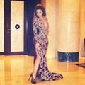 Couture Embroidery Evening Dress Myriam Fares Burgundy Prom Dresses Middle East Night Party Gown Dubai Women Formal Clothes