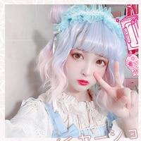 Kawaii Beautiful Short Curly women Hair Blue unique Wig Synthetic wig Lolita Gothic Hair women Fashion Girls Wig Party Cute Hair