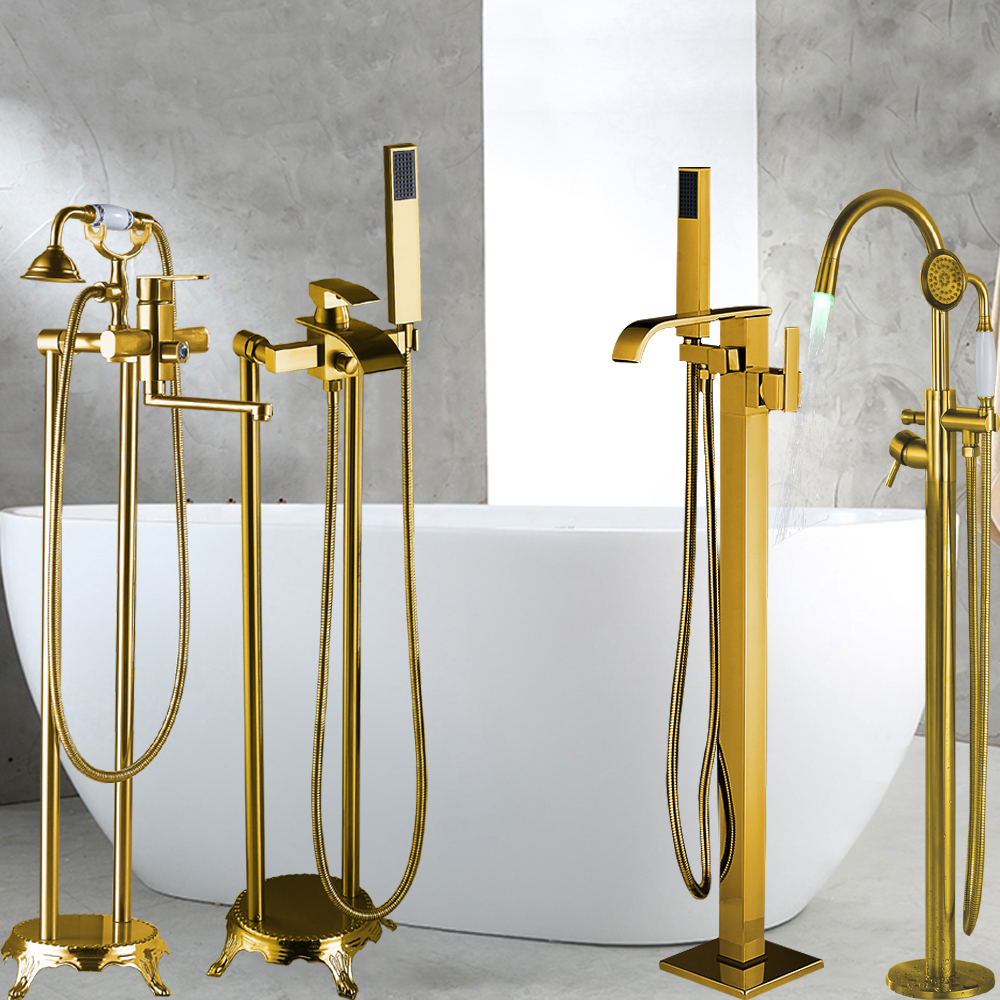 Golden Finish Floor Mounted Single Handle Bathtub Faucet Floor Stand Faucet Mixer Tap Hand Shower Faucets