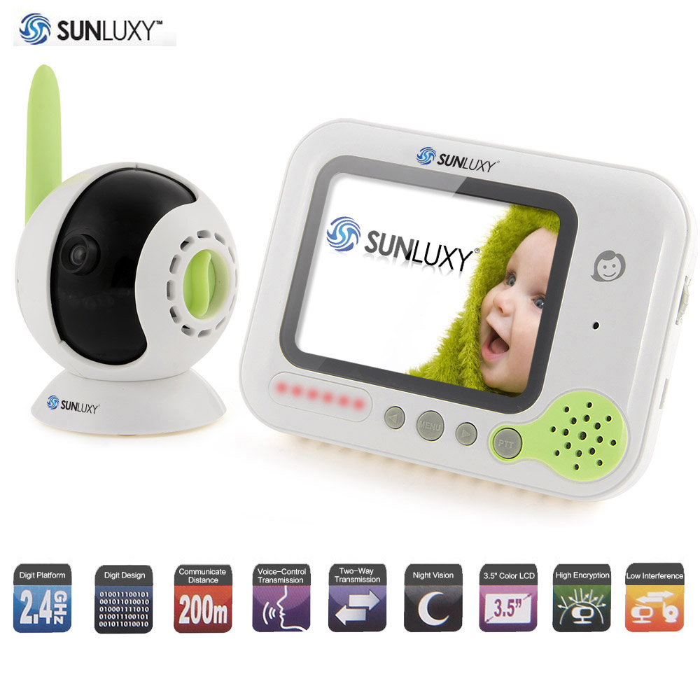 sunluxy 3 5 wireless digital baby monitor color lcd two way talk night vision audio video. Black Bedroom Furniture Sets. Home Design Ideas